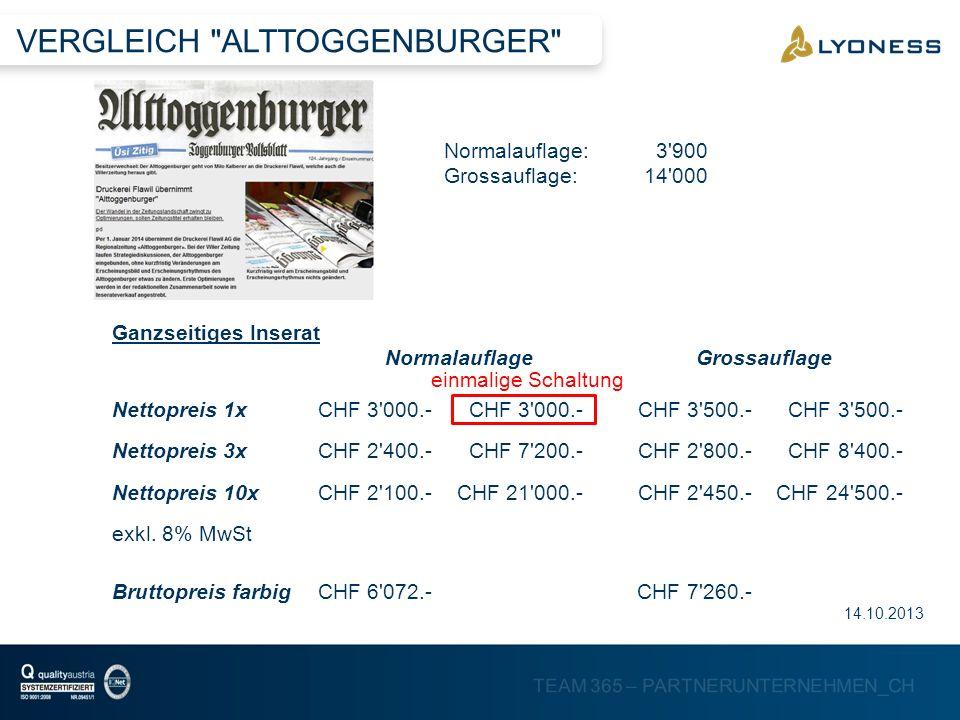 VERGLEICH ALTTOGGENBURGER