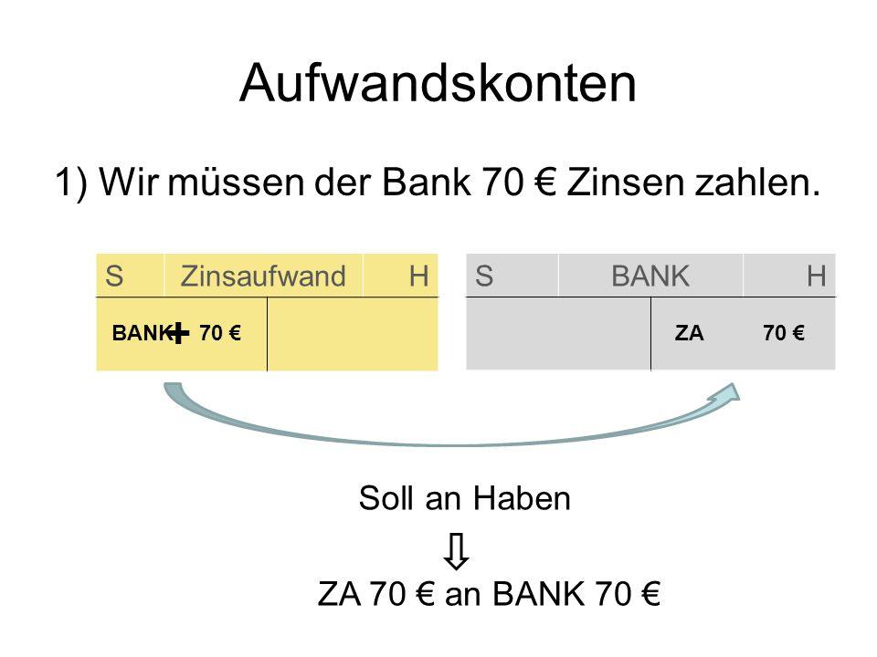 Aufwandskonten + 1) Wir müssen der Bank 70 € Zinsen zahlen.