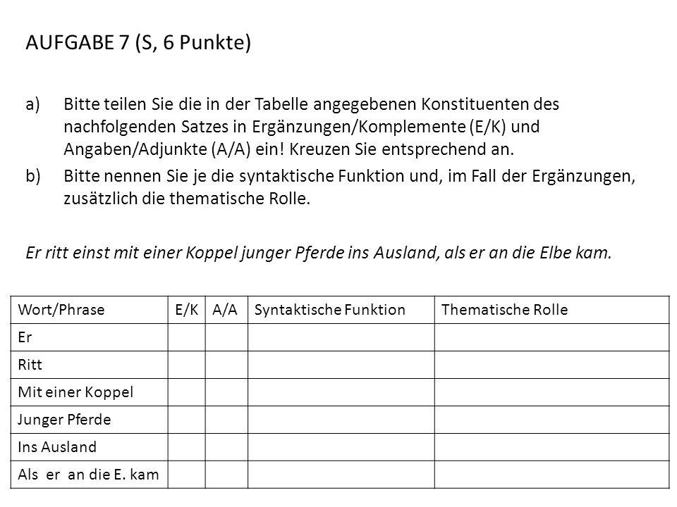 AUFGABE 7 (S, 6 Punkte)