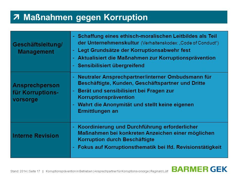 Maßnahmen gegen Korruption