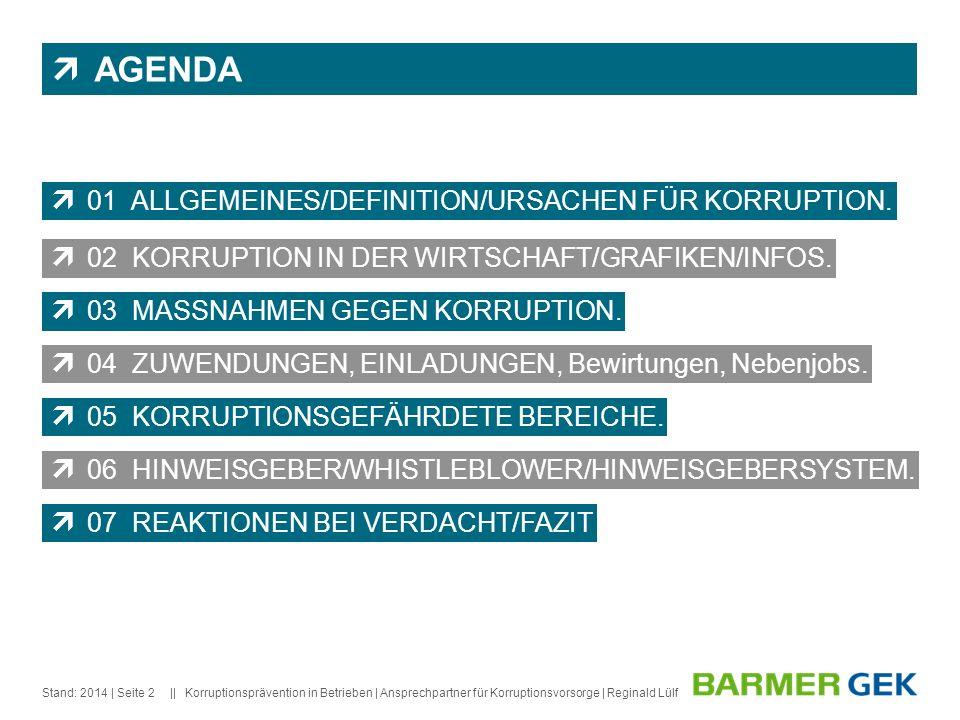 AGENDA 01 ALLGEMEINES/DEFINITION/URSACHEN FÜR KORRUPTION.