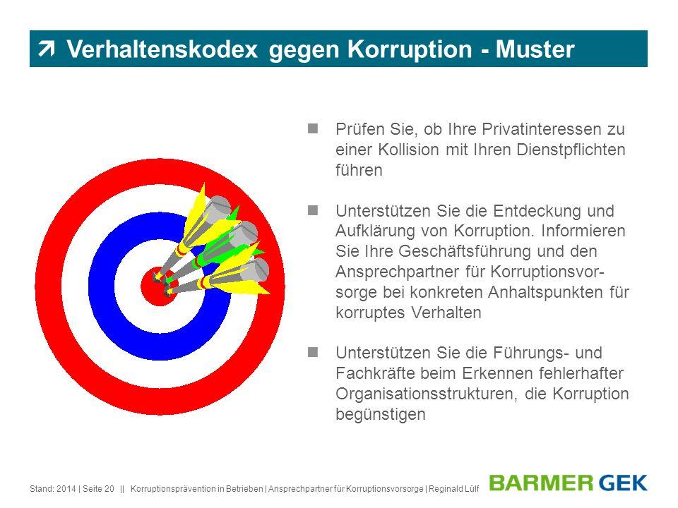 Verhaltenskodex gegen Korruption - Muster
