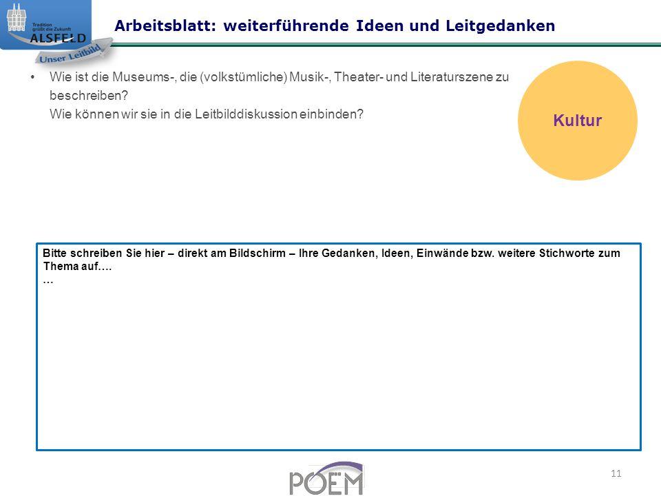 Kultur Arbeitsblatt: weiterführende Ideen und Leitgedanken