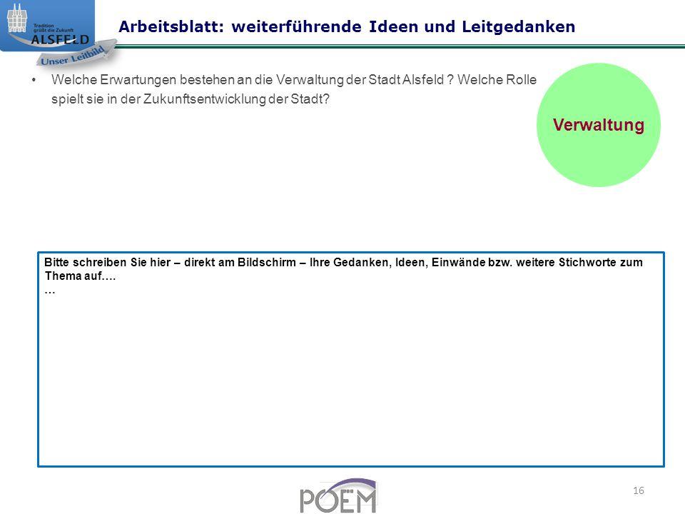 Verwaltung Arbeitsblatt: weiterführende Ideen und Leitgedanken
