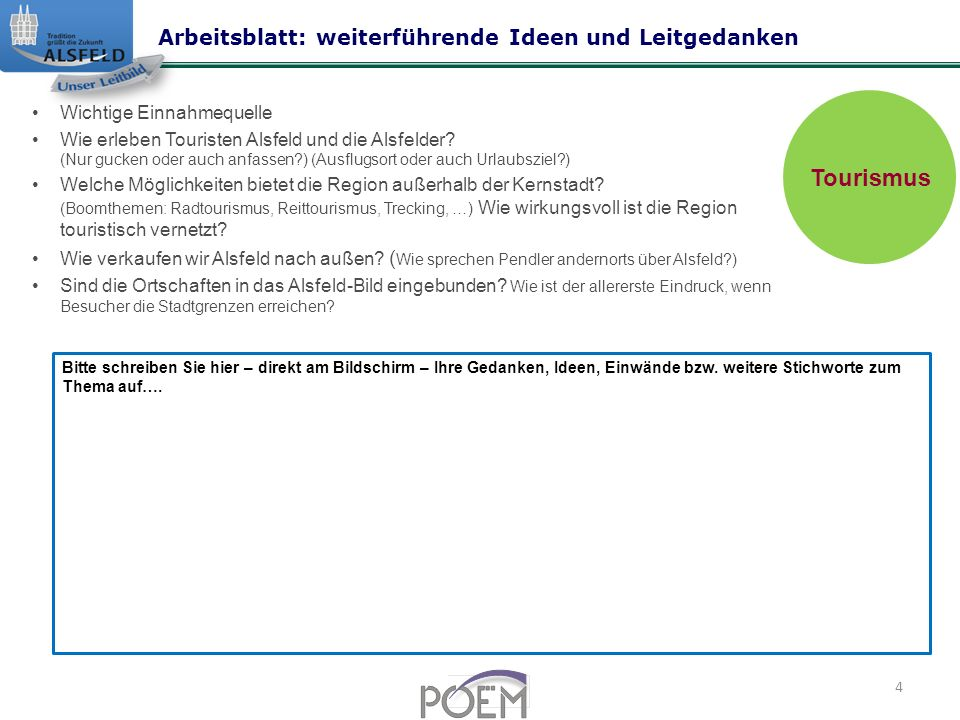 Tourismus Arbeitsblatt: weiterführende Ideen und Leitgedanken