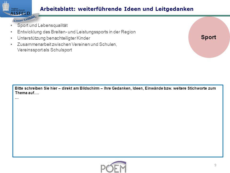 Sport Arbeitsblatt: weiterführende Ideen und Leitgedanken
