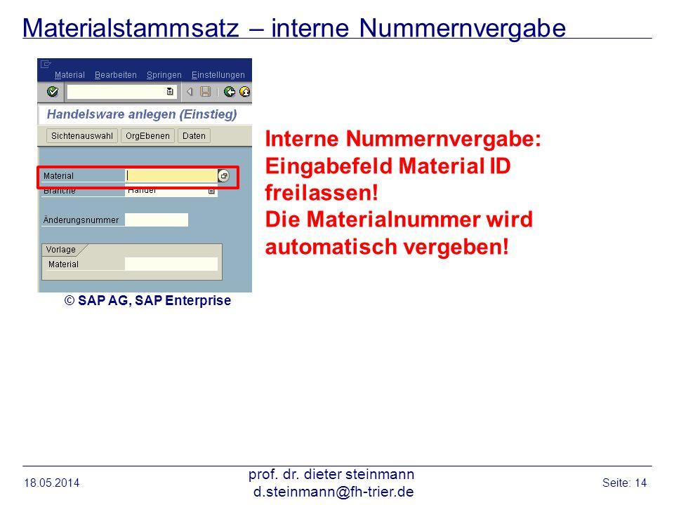 Materialstammsatz – interne Nummernvergabe