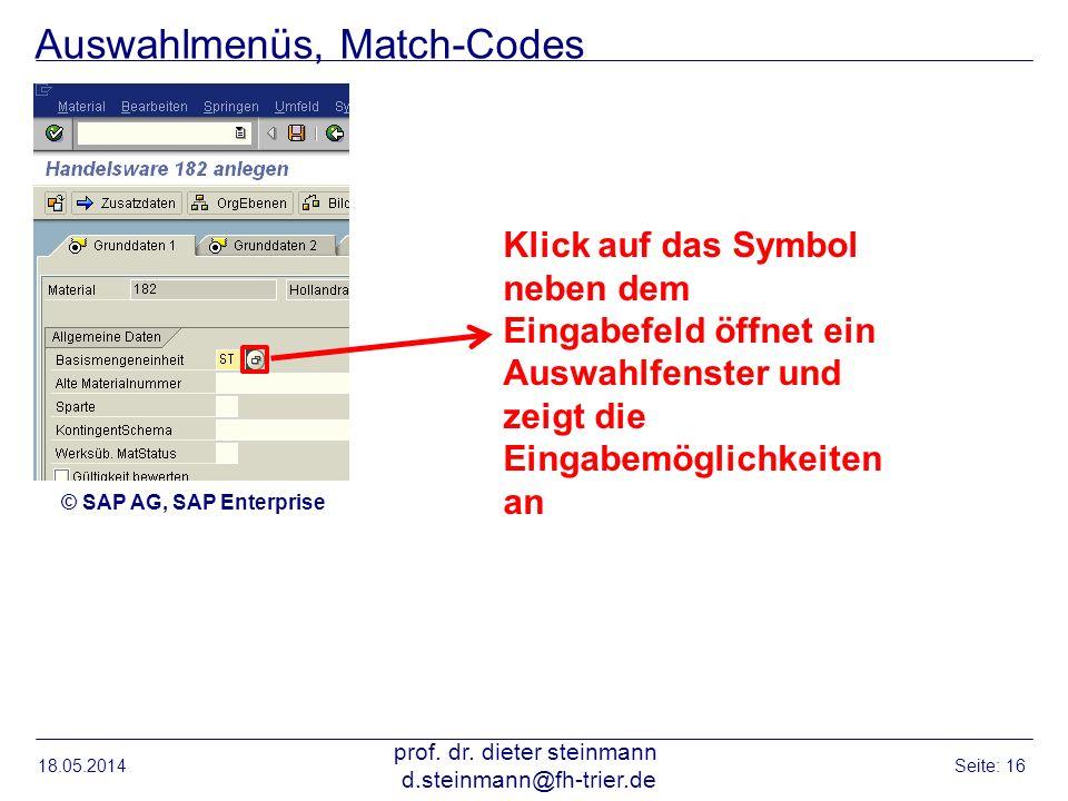 Auswahlmenüs, Match-Codes