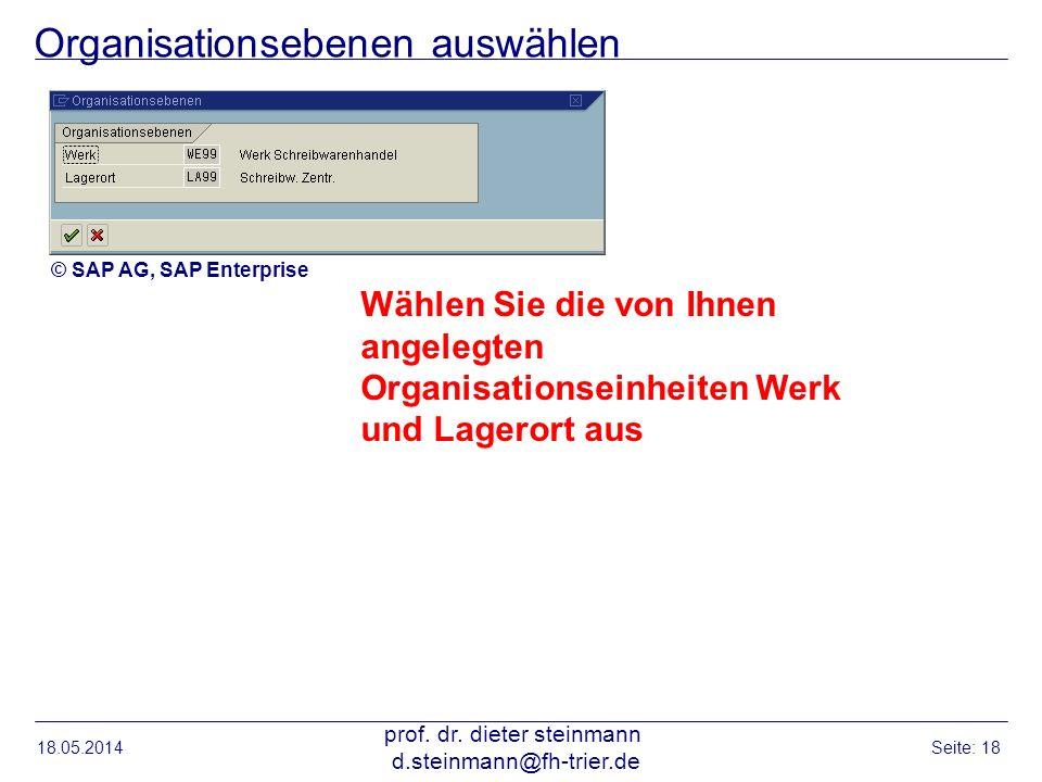 Organisationsebenen auswählen