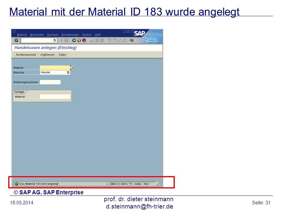 Material mit der Material ID 183 wurde angelegt