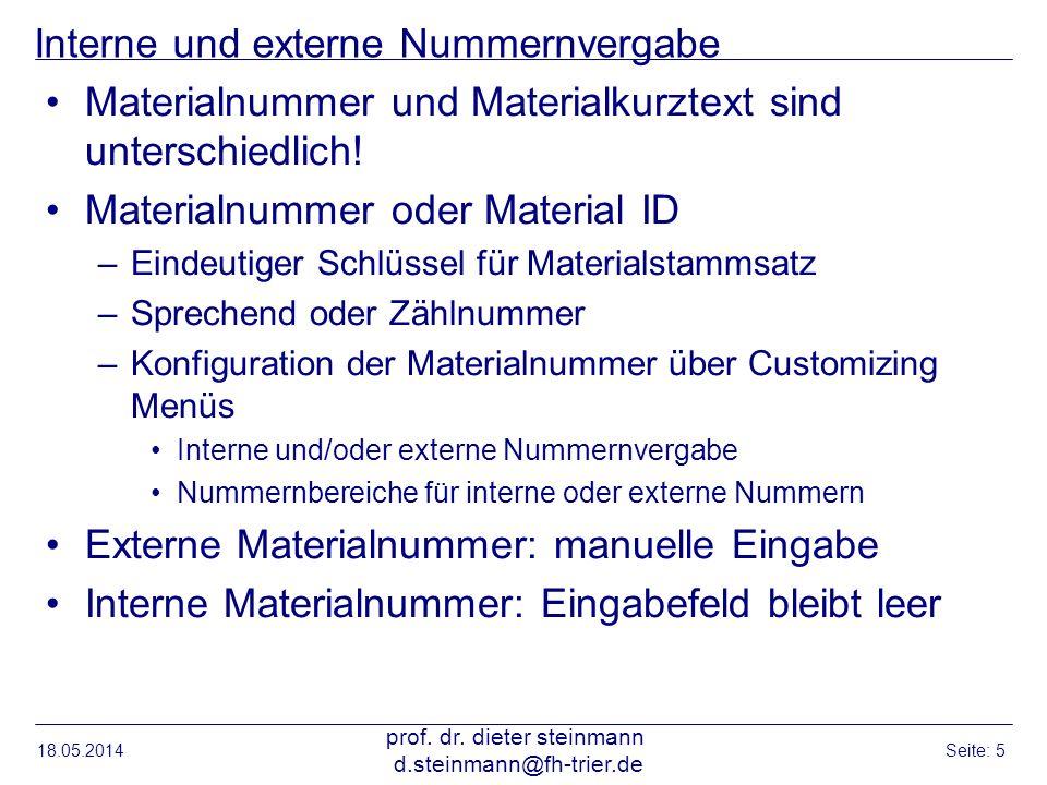 Interne und externe Nummernvergabe