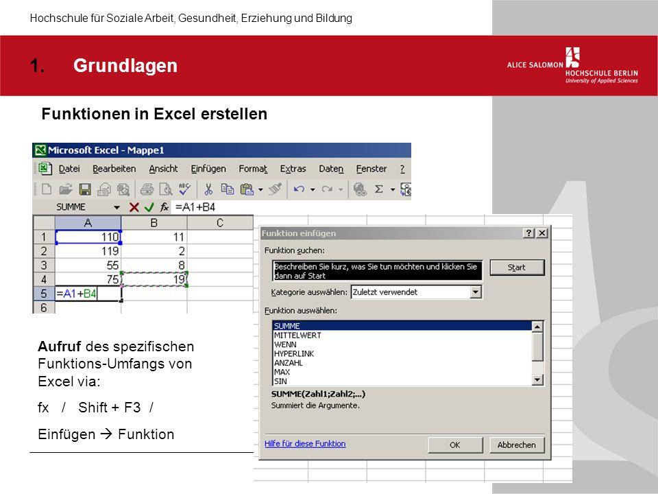 Grundlagen Funktionen in Excel erstellen