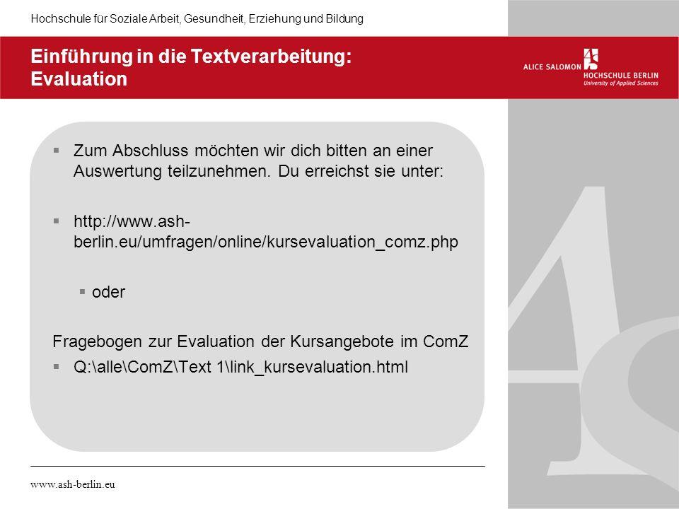 Einführung in die Textverarbeitung: Evaluation