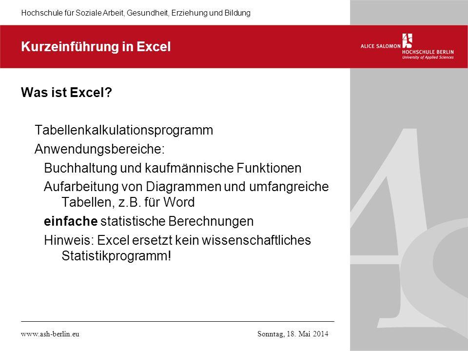 Kurzeinführung in Excel