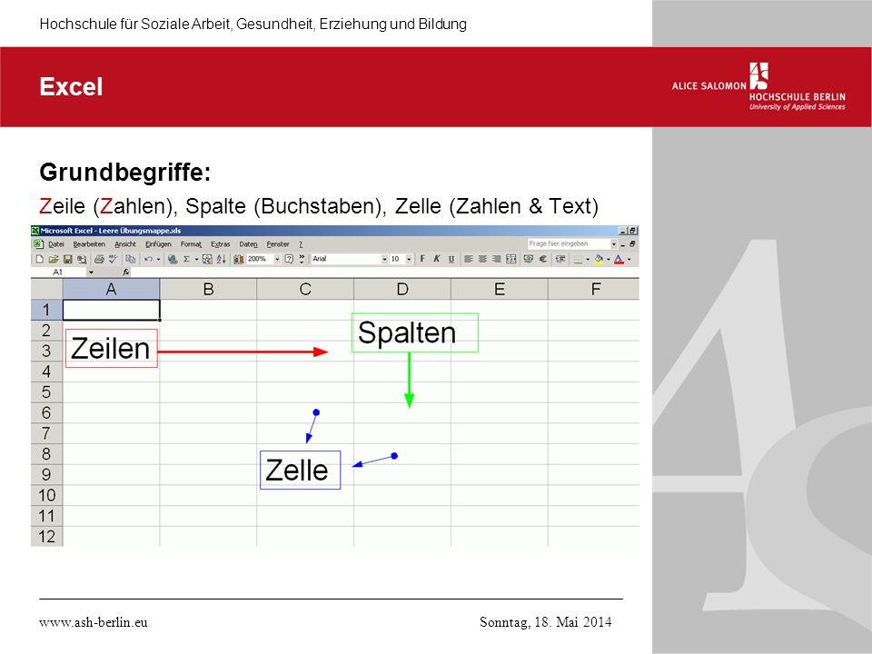 Excel Grundbegriffe: Zeile (Zahlen), Spalte (Buchstaben), Zelle (Zahlen & Text) www.ash-berlin.eu.