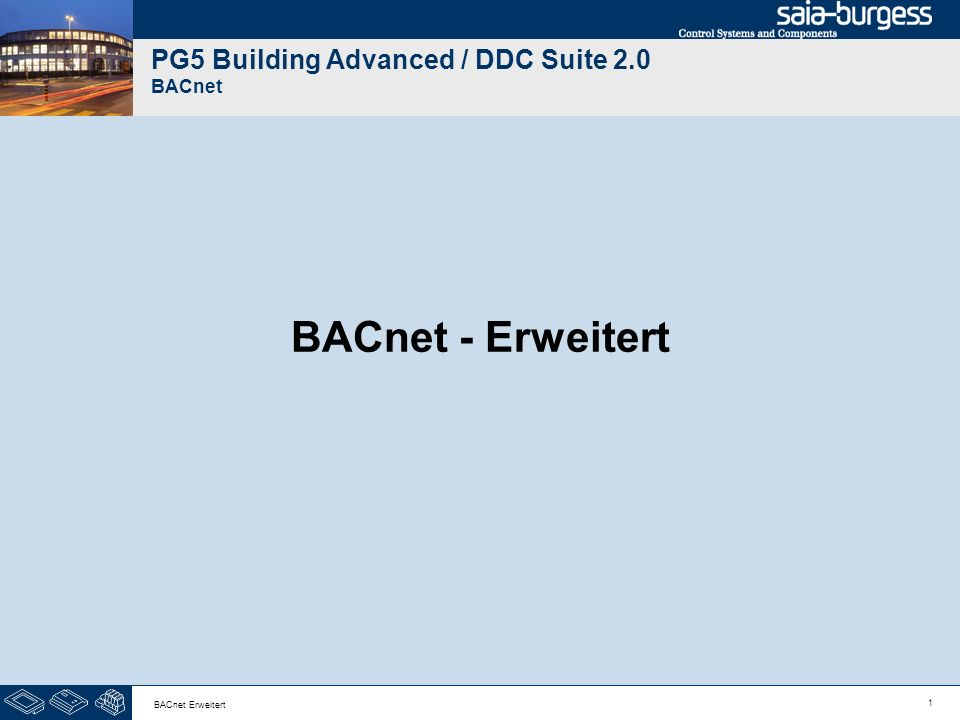 PG5 Building Advanced / DDC Suite 2.0 BACnet