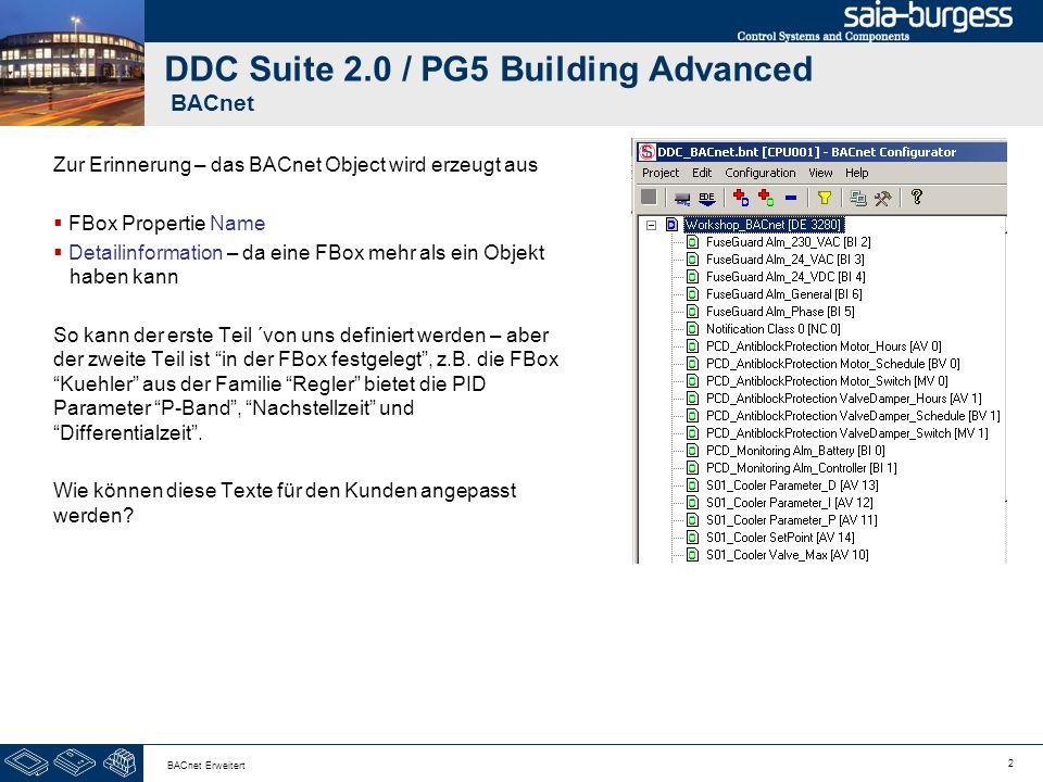 DDC Suite 2.0 / PG5 Building Advanced BACnet