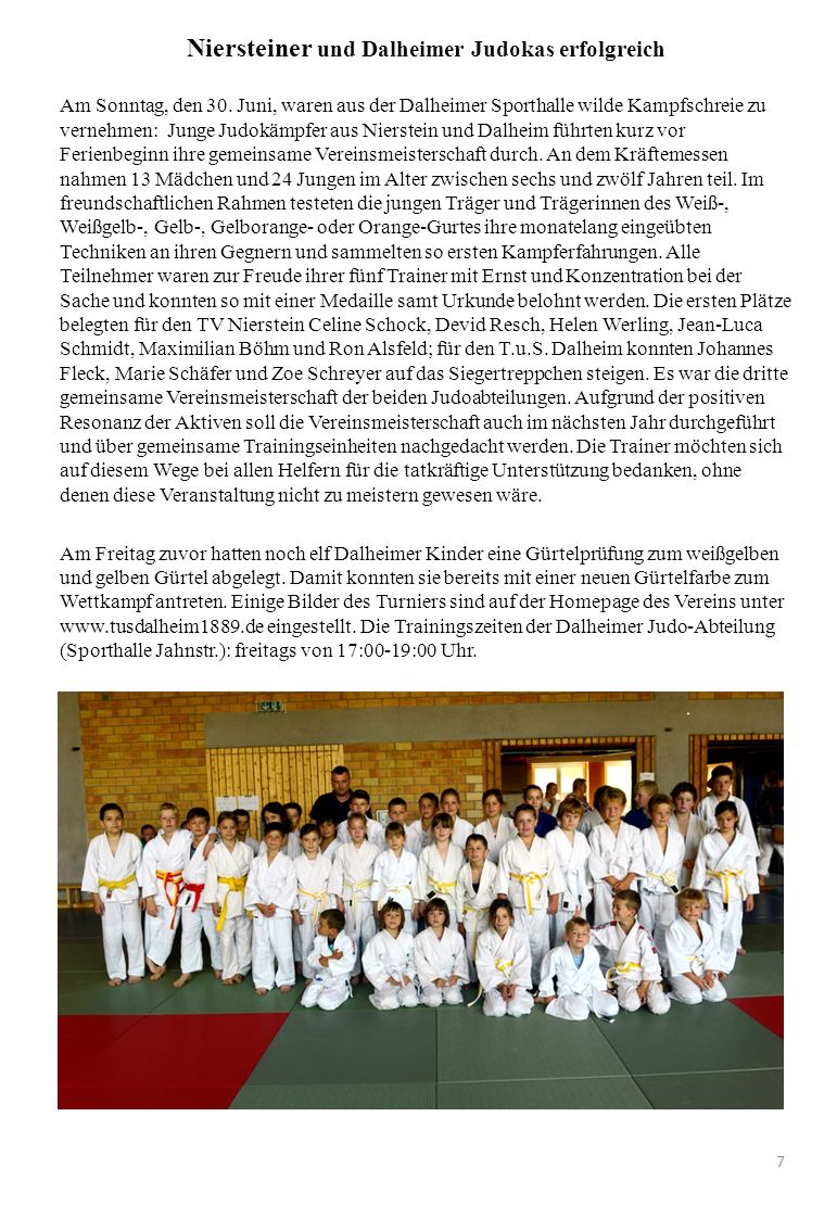Niersteiner und Dalheimer Judokas erfolgreich