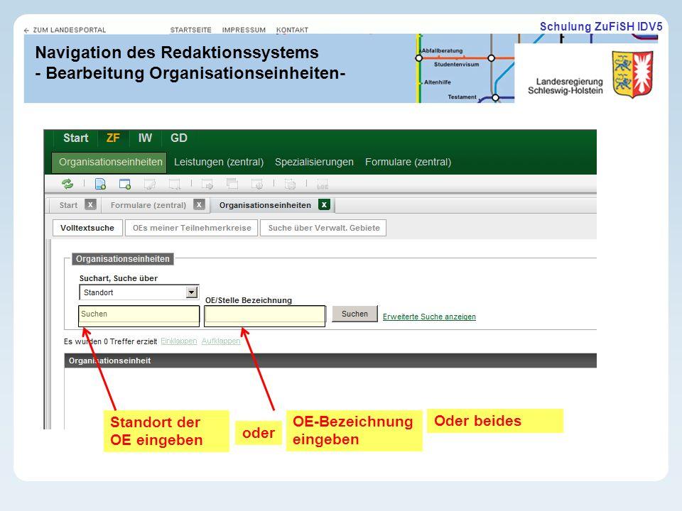Navigation des Redaktionssystems - Bearbeitung Organisationseinheiten-
