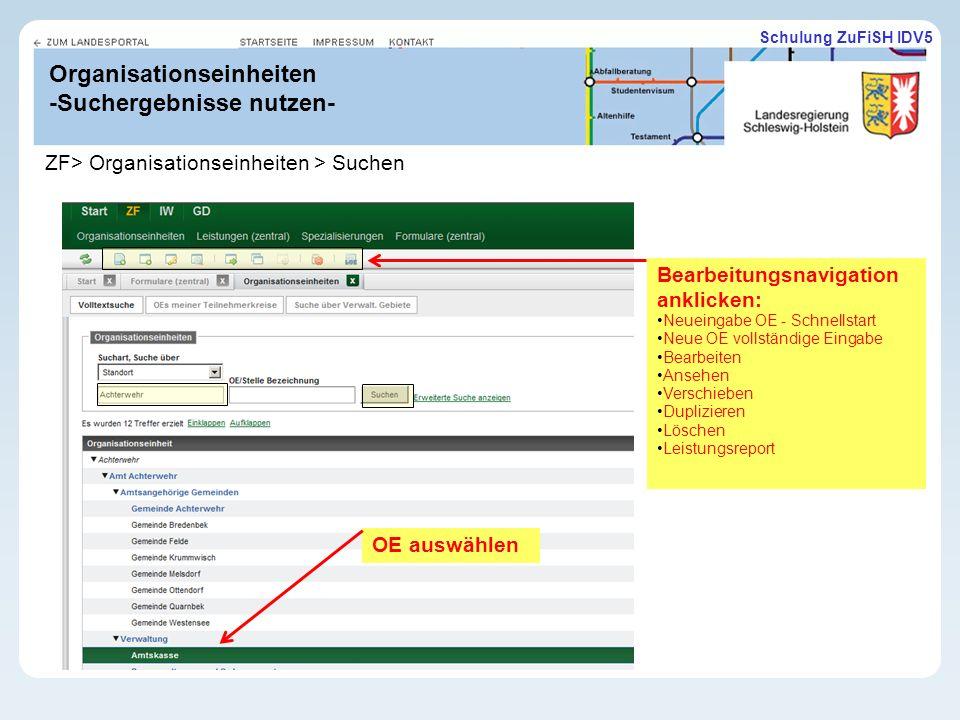 Organisationseinheiten -Suchergebnisse nutzen-