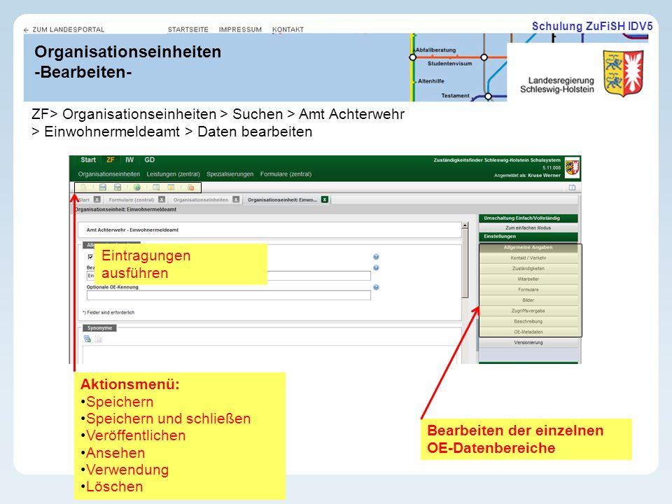 Organisationseinheiten -Bearbeiten-