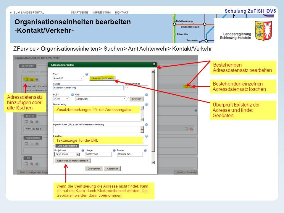 Organisationseinheiten bearbeiten -Kontakt/Verkehr-