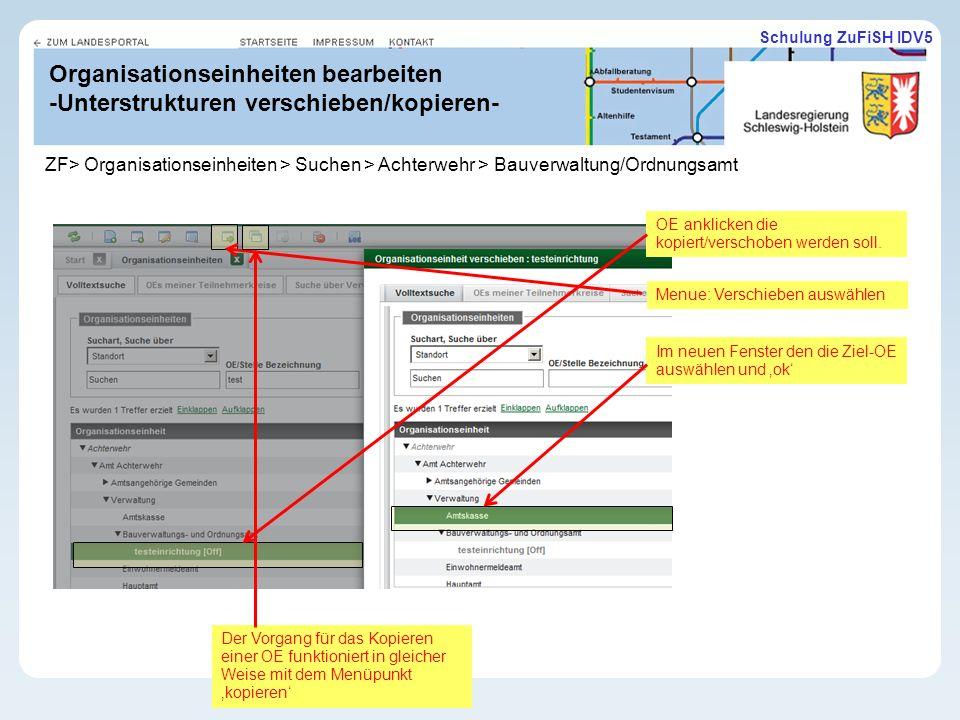 11.02.10 Organisationseinheiten bearbeiten -Unterstrukturen verschieben/kopieren-
