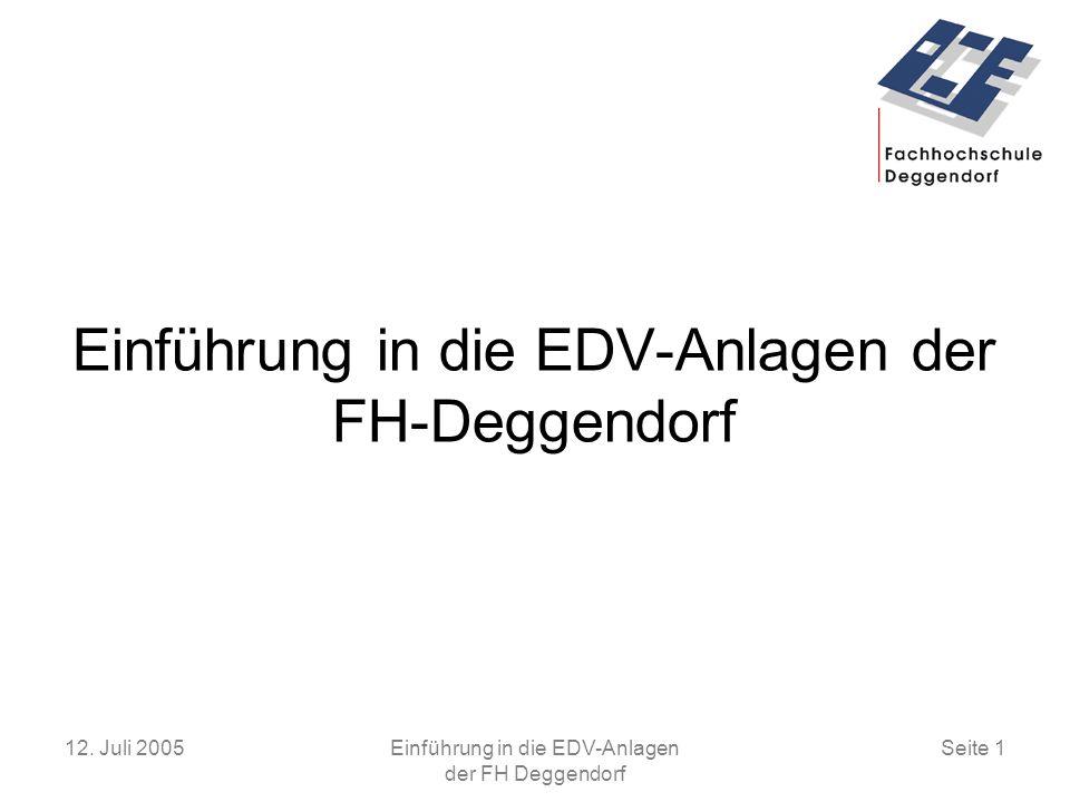 Einführung in die EDV-Anlagen der FH-Deggendorf