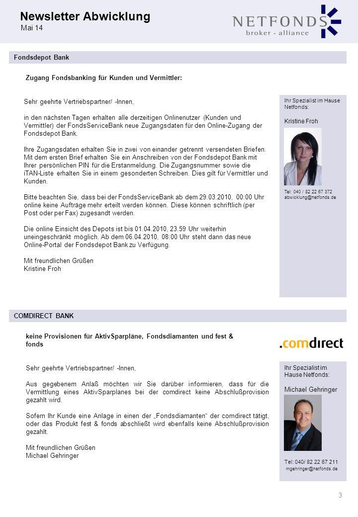Zugang Fondsbanking für Kunden und Vermittler: