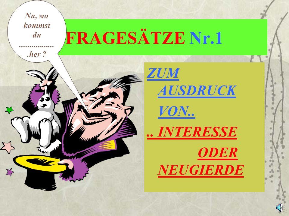 FRAGESÄTZE Nr.1 ZUM AUSDRUCK VON.. .. INTERESSE ODER NEUGIERDE