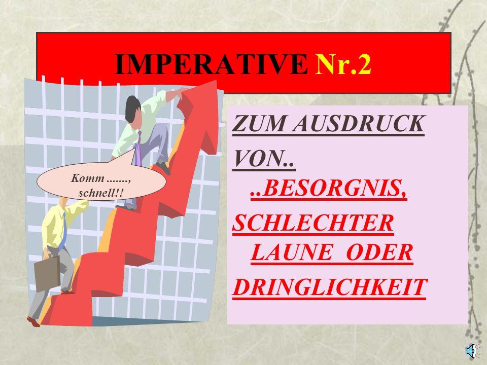 IMPERATIVE Nr.2 ZUM AUSDRUCK VON.. ..BESORGNIS, SCHLECHTER LAUNE ODER