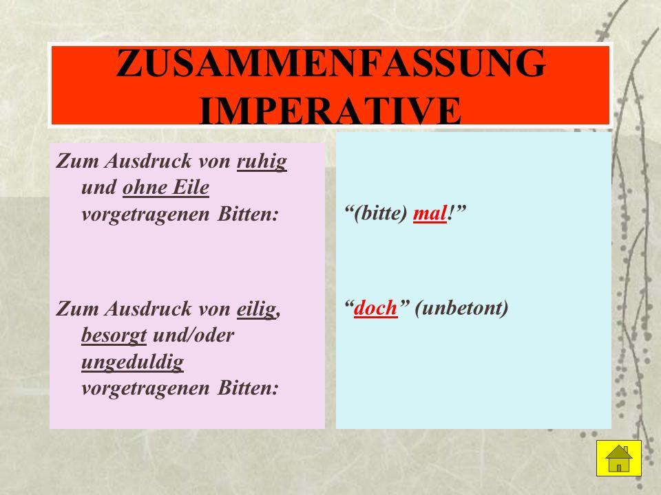 ZUSAMMENFASSUNG IMPERATIVE