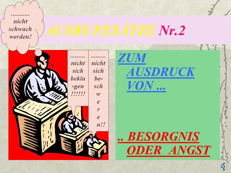 AUSRUFESÄTZE Nr.2 ZUM AUSDRUCK VON ... .. BESORGNIS ODER ANGST