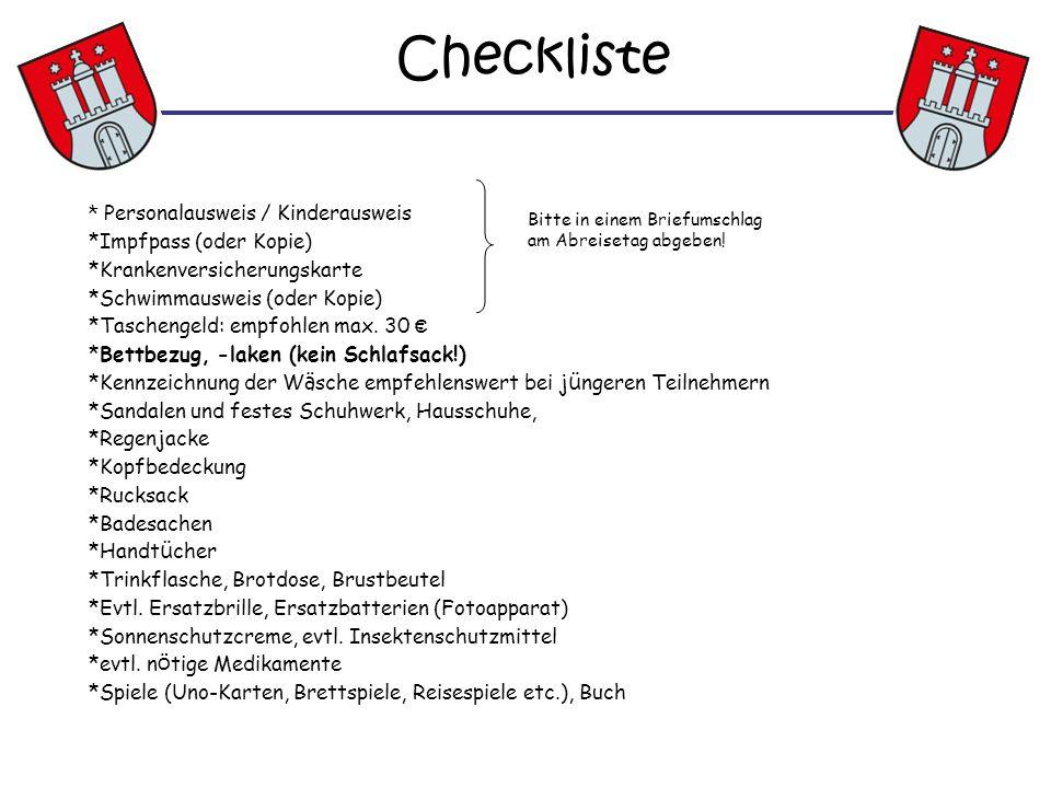 Checkliste * Personalausweis / Kinderausweis Impfpass (oder Kopie)