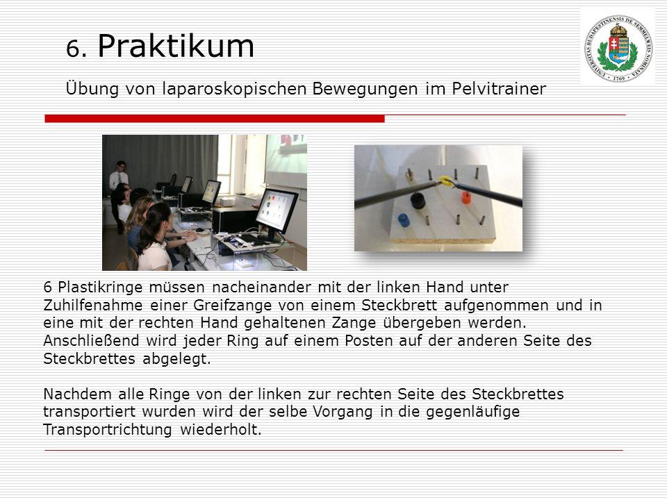 6. Praktikum Übung von laparoskopischen Bewegungen im Pelvitrainer