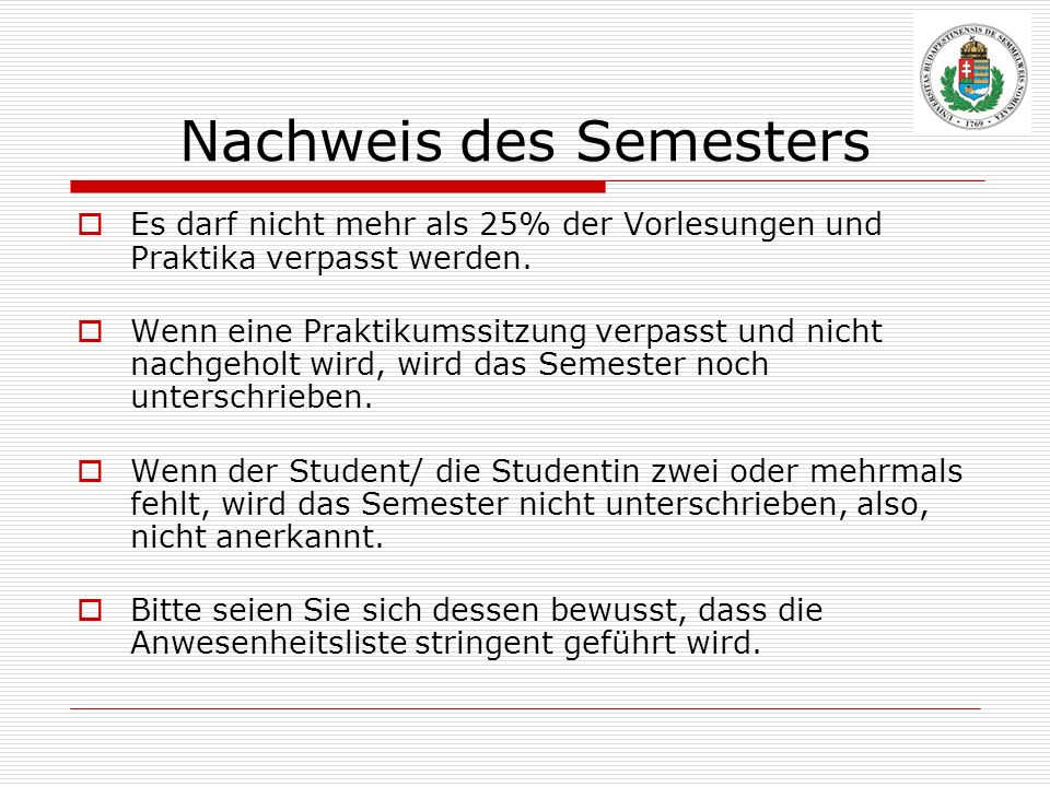 Nachweis des Semesters