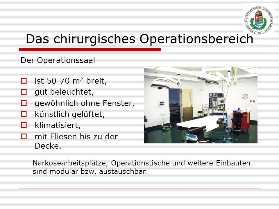 Das chirurgisches Operationsbereich