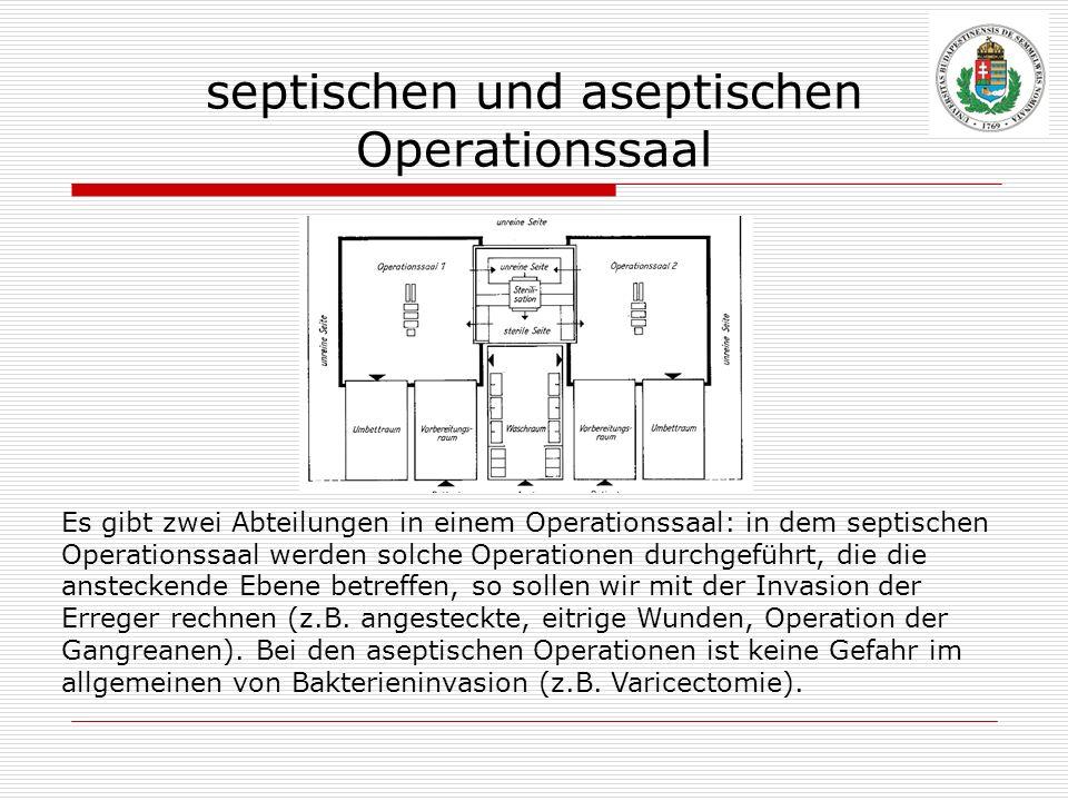 septischen und aseptischen Operationssaal