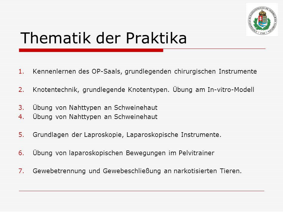 Thematik der Praktika Kennenlernen des OP-Saals, grundlegenden chirurgischen Instrumente.