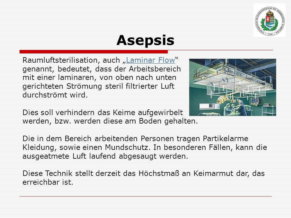 """Asepsis Raumluftsterilisation, auch """"Laminar Flow"""