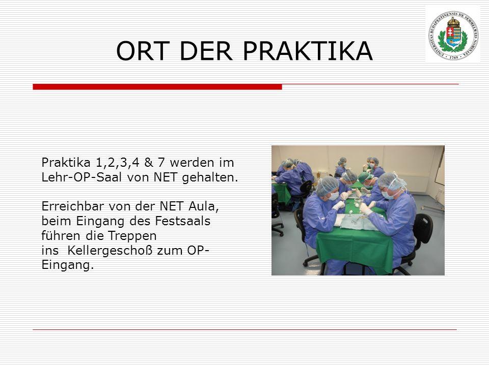 ORT DER PRAKTIKA Praktika 1,2,3,4 & 7 werden im Lehr-OP-Saal von NET gehalten. Erreichbar von der NET Aula,