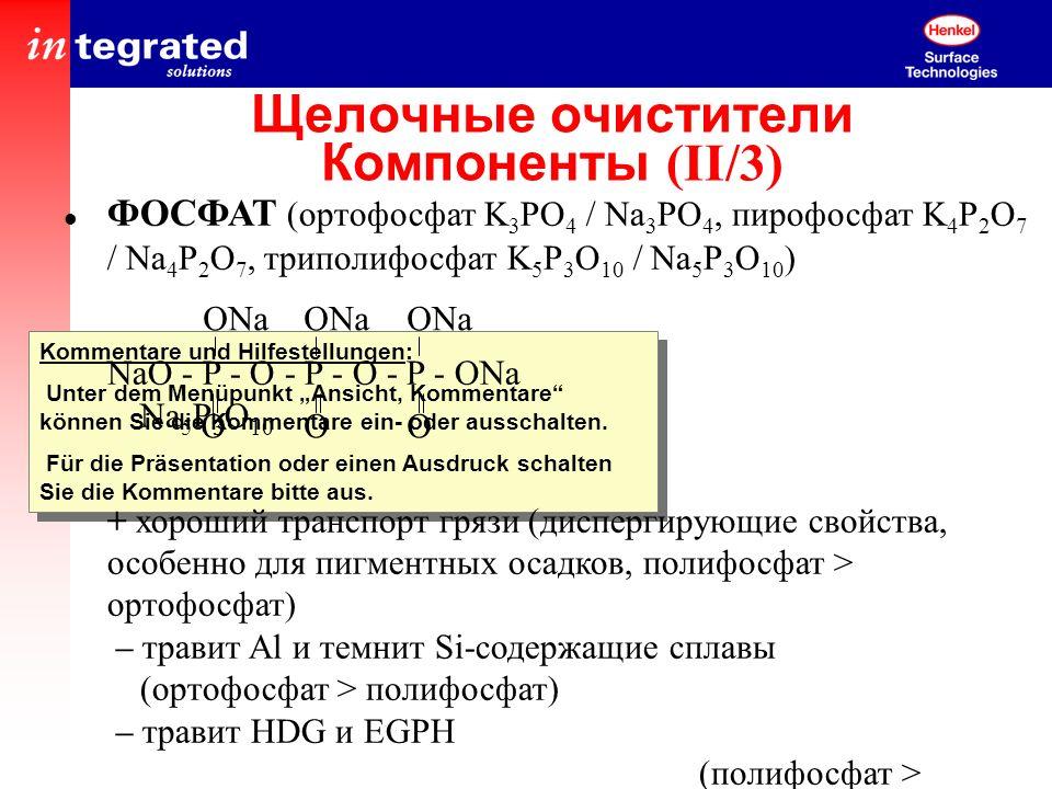 Щелочные очистители Компоненты (II/3)