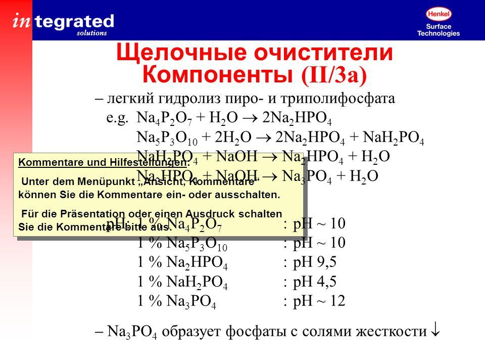Щелочные очистители Компоненты (II/3a)
