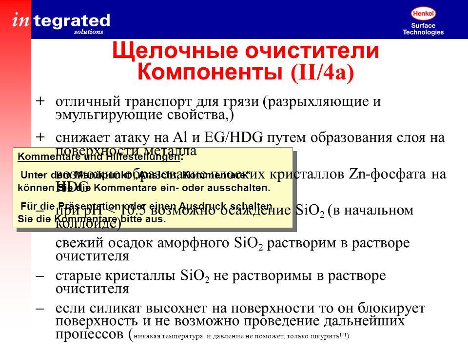 Щелочные очистители Компоненты (II/4a)