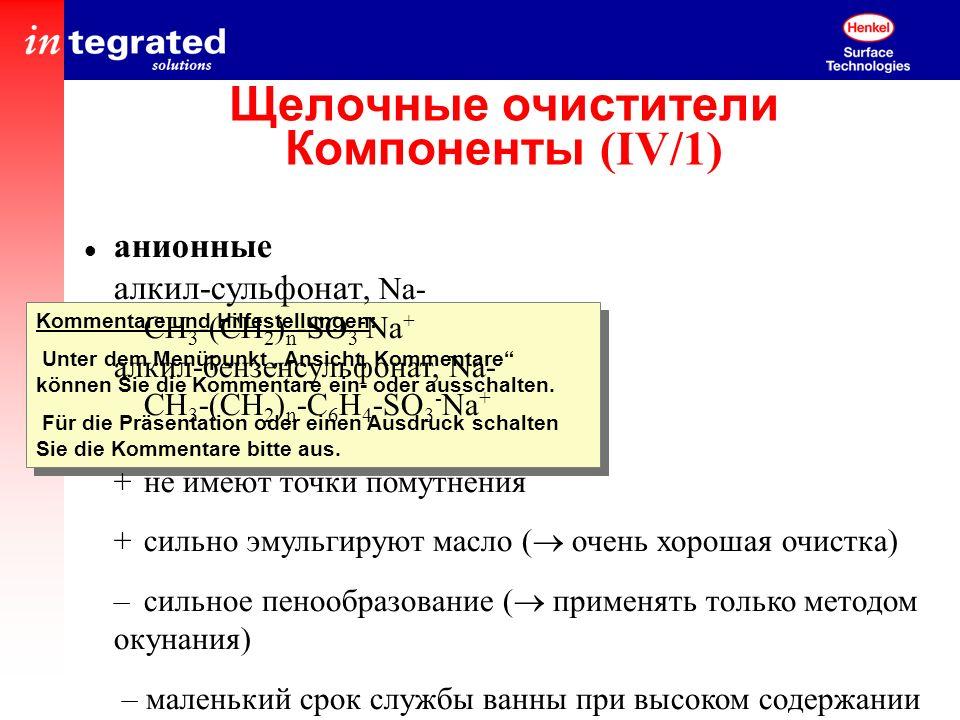Щелочные очистители Компоненты (IV/1)