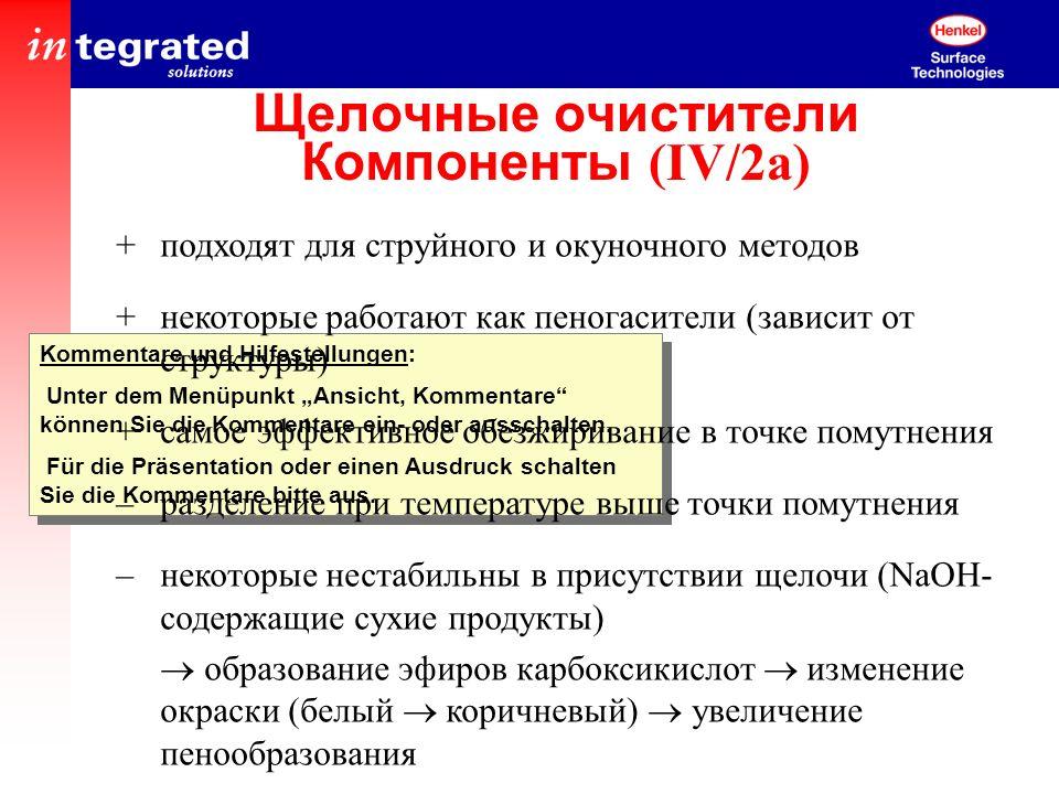 Щелочные очистители Компоненты (IV/2a)