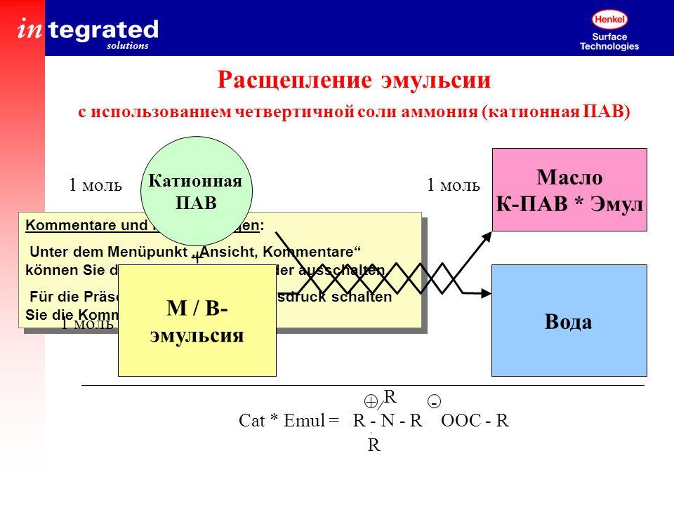 Расщепление эмульсии с использованием четвертичной соли аммония (катионная ПАВ)