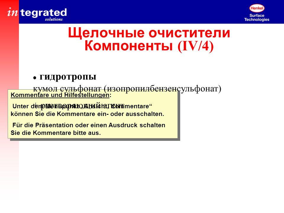 Щелочные очистители Компоненты (IV/4)