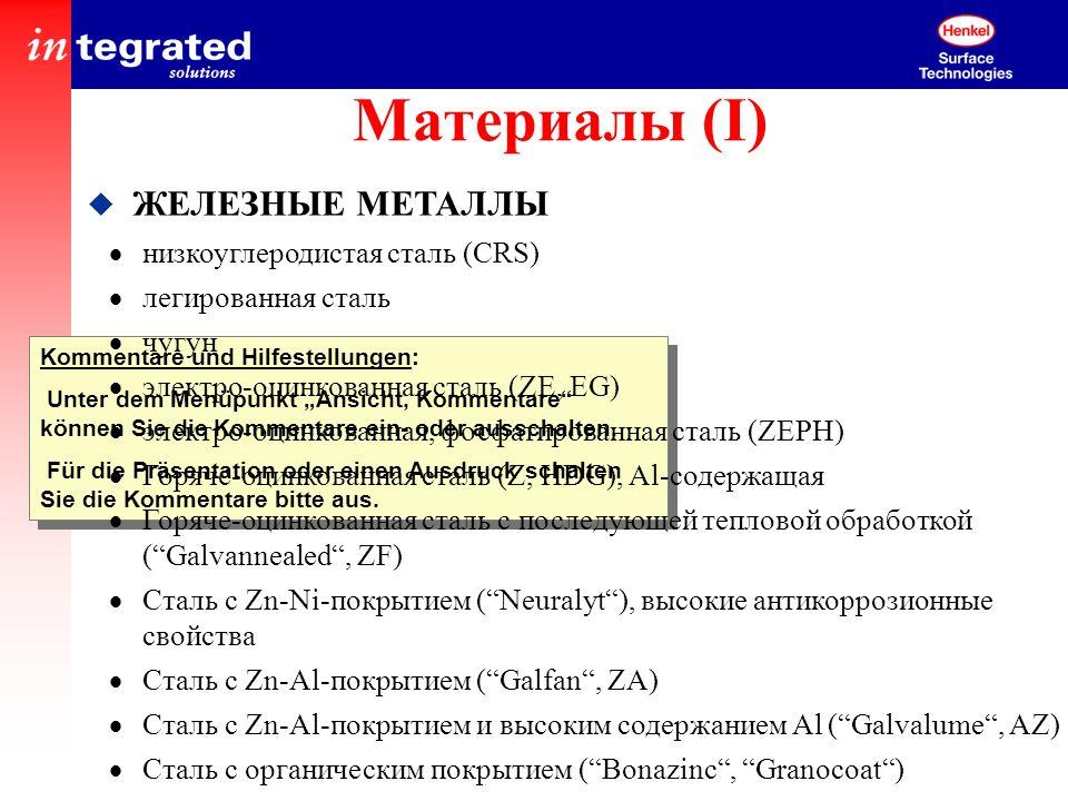 Материалы (I) ЖЕЛЕЗНЫЕ МЕТАЛЛЫ низкоуглеродистая сталь (CRS)