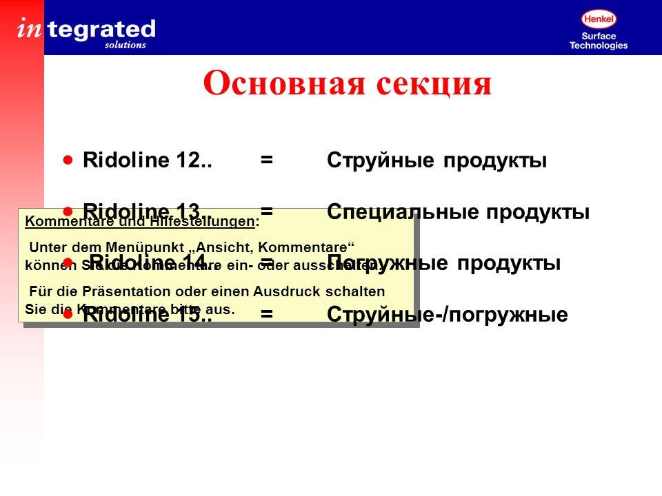 Основная секция Ridoline 12.. = Струйные продукты
